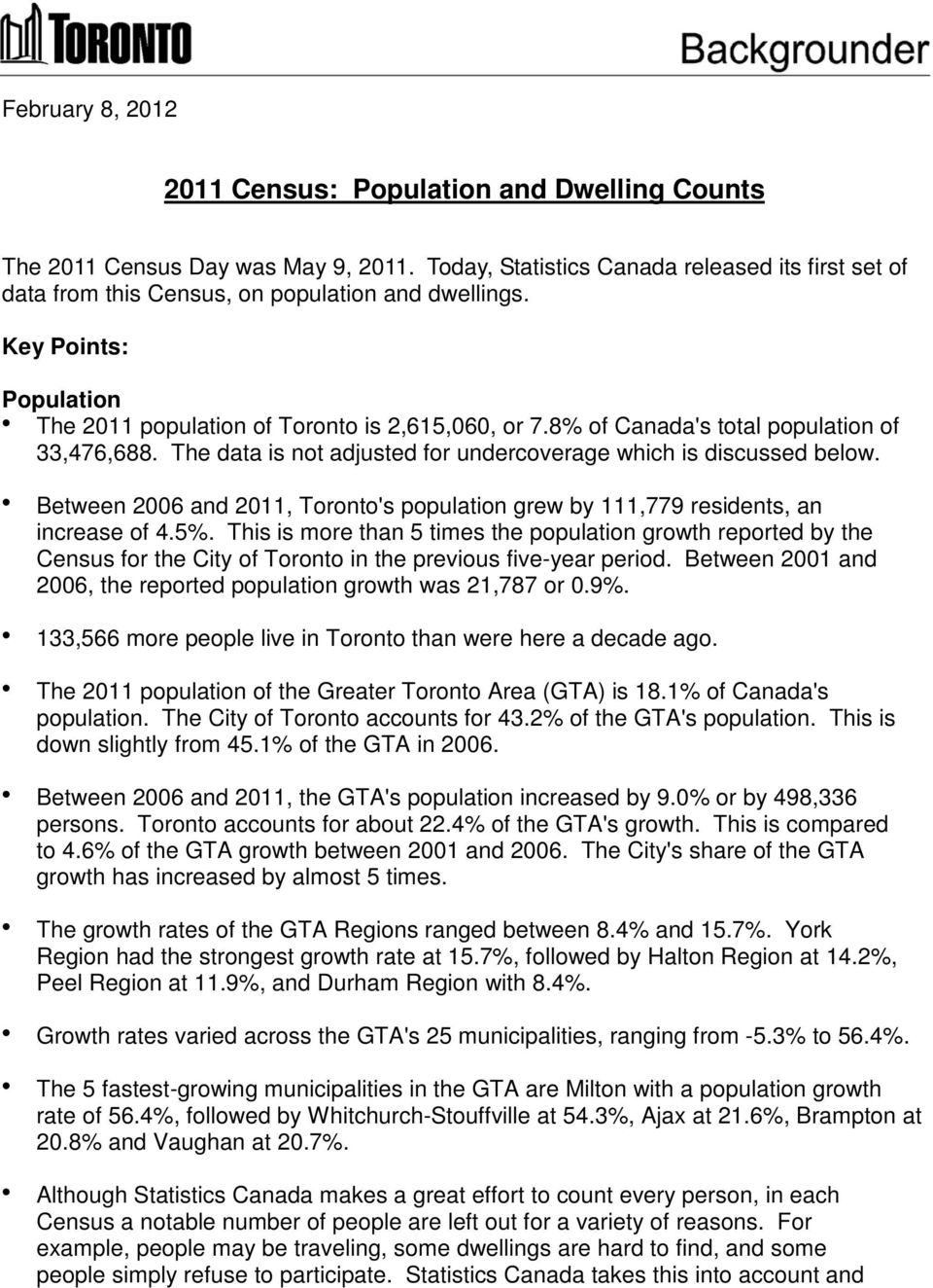 Between 2006 and 2011, Toronto's population grew by 111,779 residents, an increase of 4.5%.