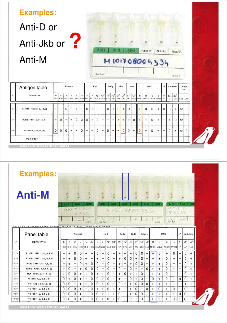 Antigen table