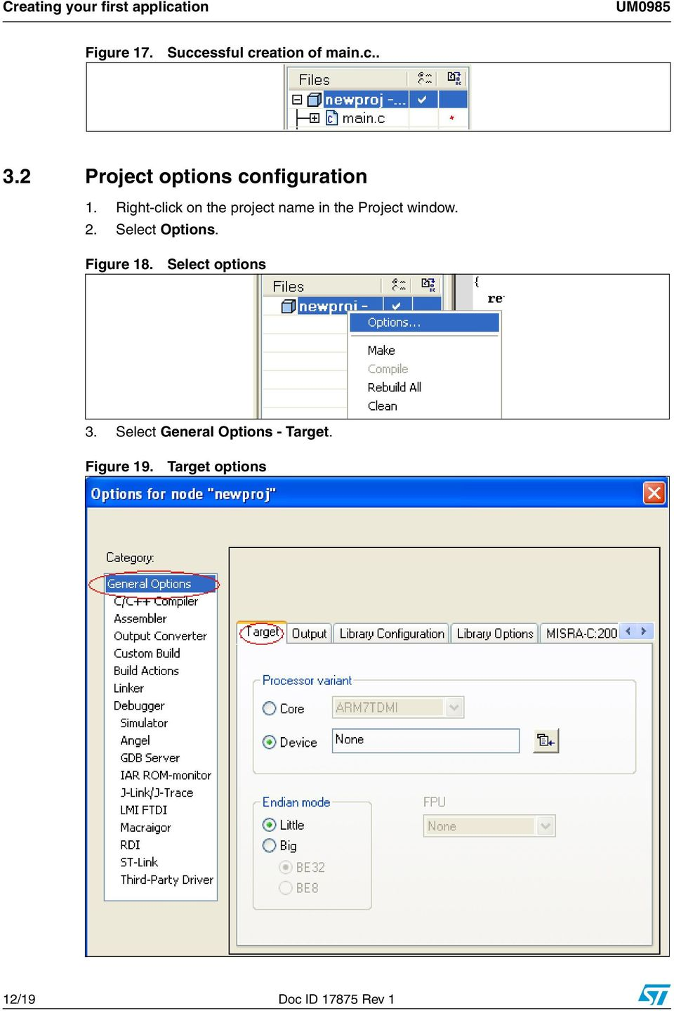 Right-click on the project name in the Project window. 2. Select Options.