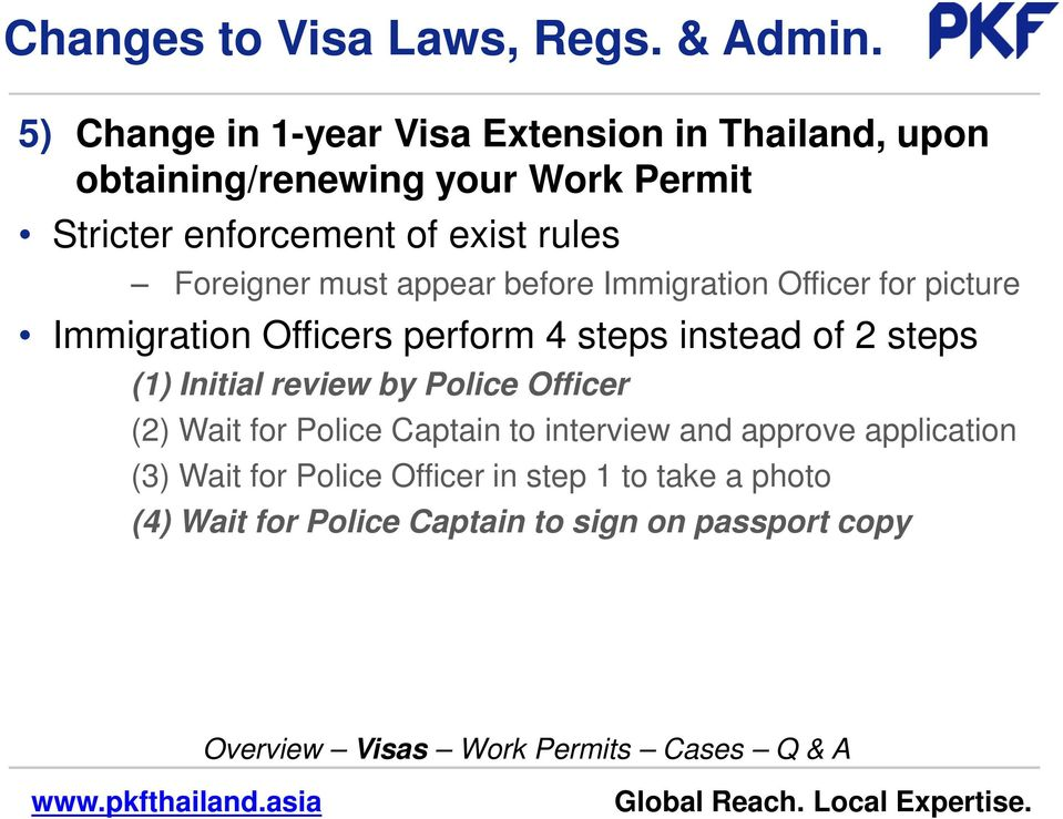 rules Foreigner must appear before Immigration Officer for picture Immigration Officers perform 4 steps instead of 2