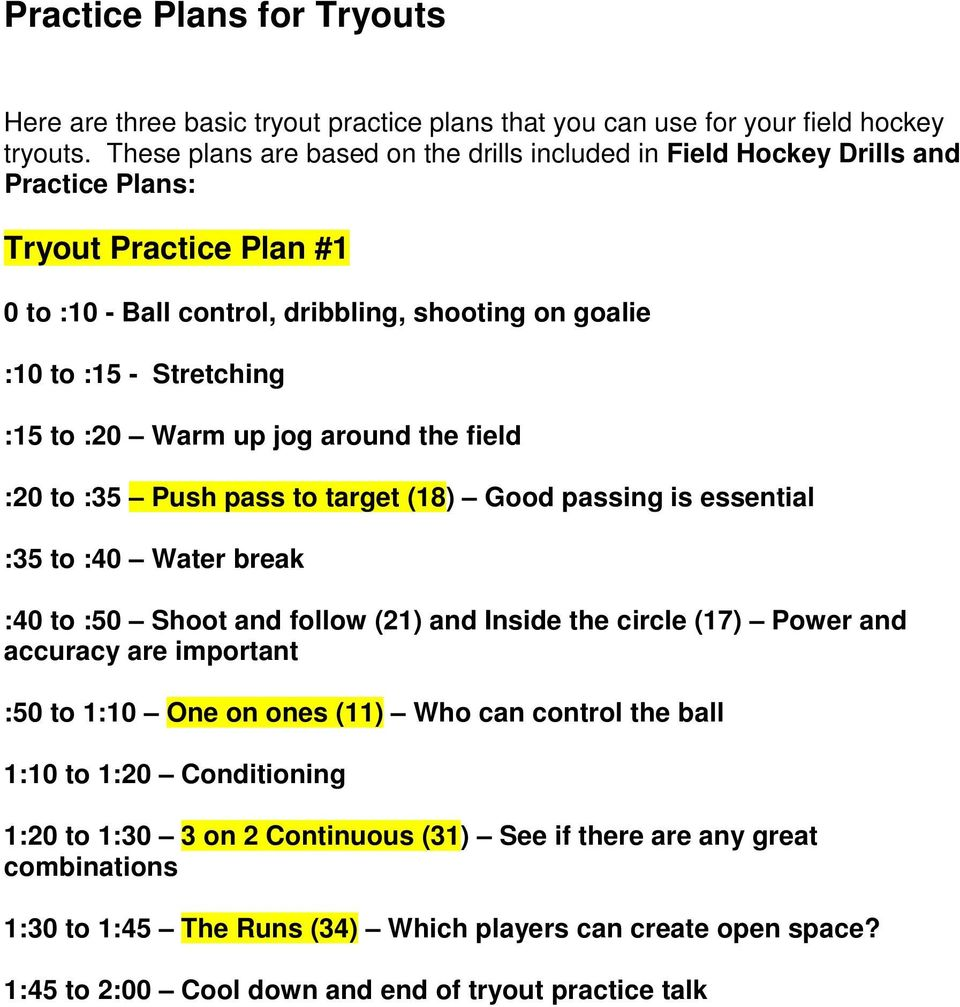 :20 Warm up jog around the field :20 to :35 Push pass to target (18) Good passing is essential :35 to :40 Water break :40 to :50 Shoot and follow (21) and Inside the circle (17) Power and accuracy