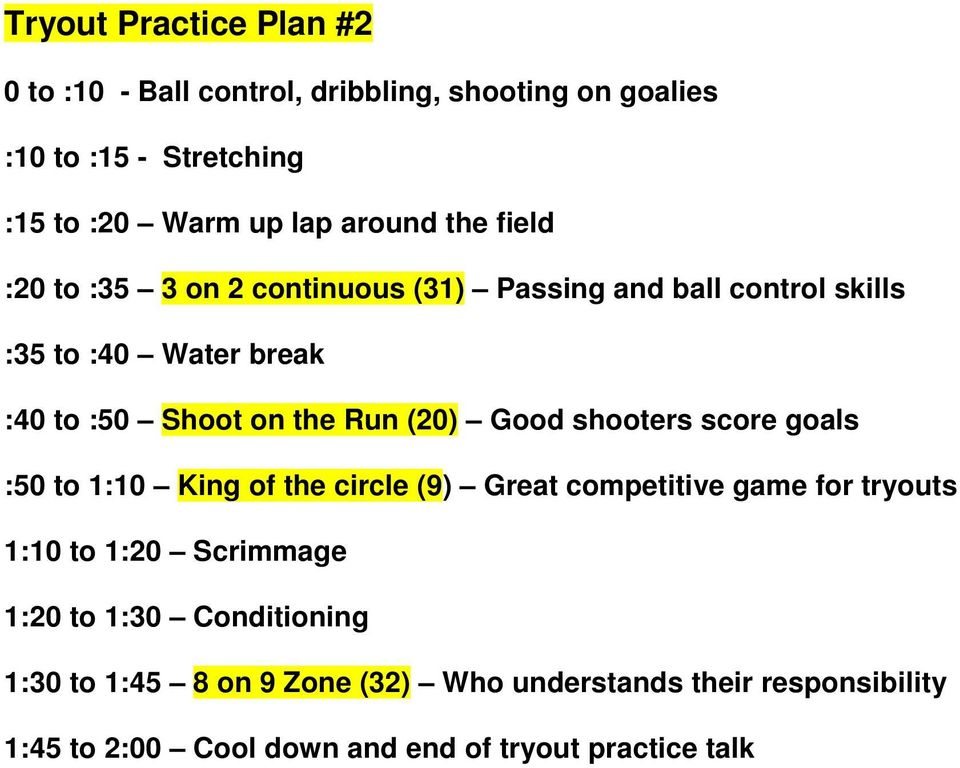 Run (20) Good shooters score goals :50 to 1:10 King of the circle (9) Great competitive game for tryouts 1:10 to 1:20 Scrimmage 1:20