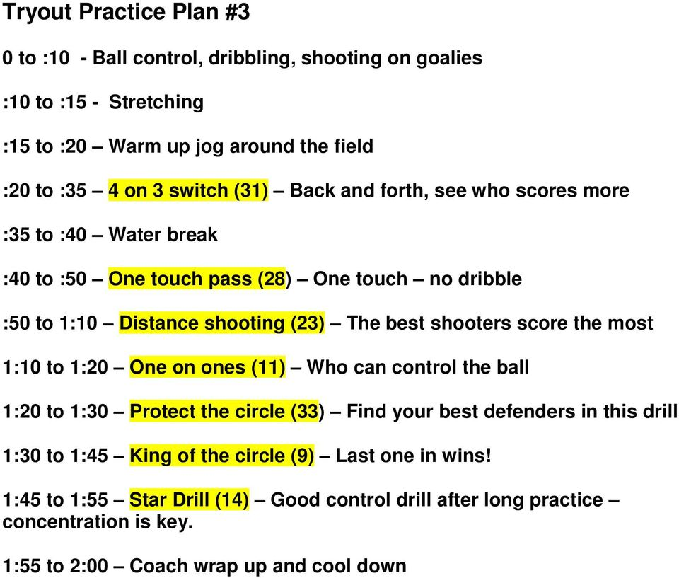 shooters score the most 1:10 to 1:20 One on ones (11) Who can control the ball 1:20 to 1:30 Protect the circle (33) Find your best defenders in this drill 1:30 to