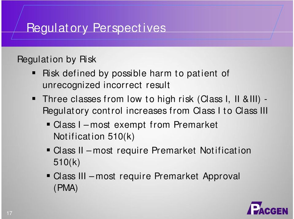 Regulatory control increases from Class I to Class III Class I most exempt from Premarket