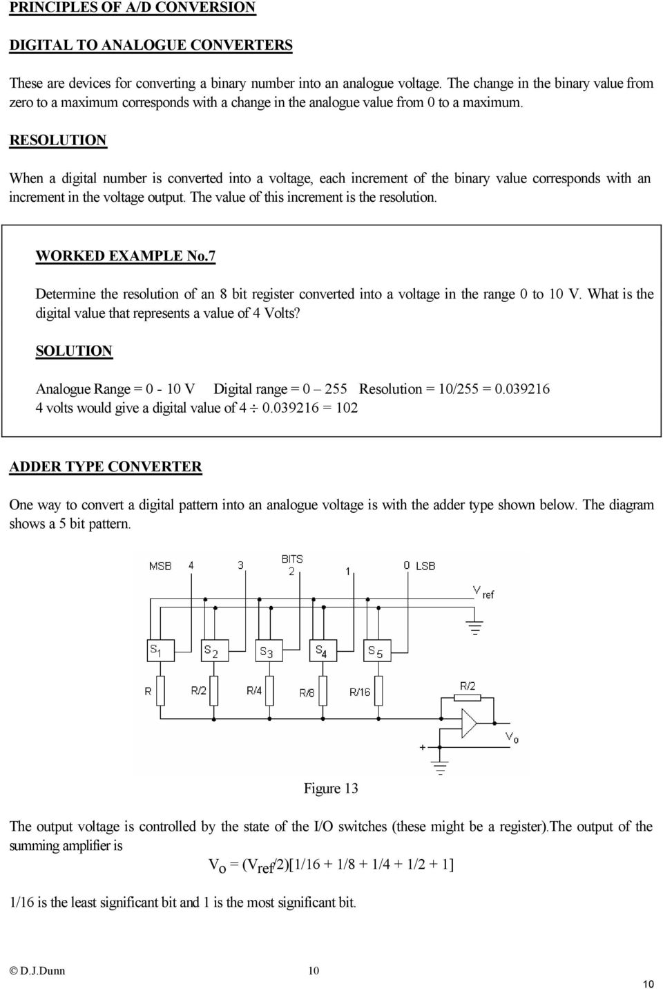 RESOLUTION When a digital number is converted into a voltage, each increment of the binary value corresponds with an increment in the voltage output. The value of this increment is the resolution.