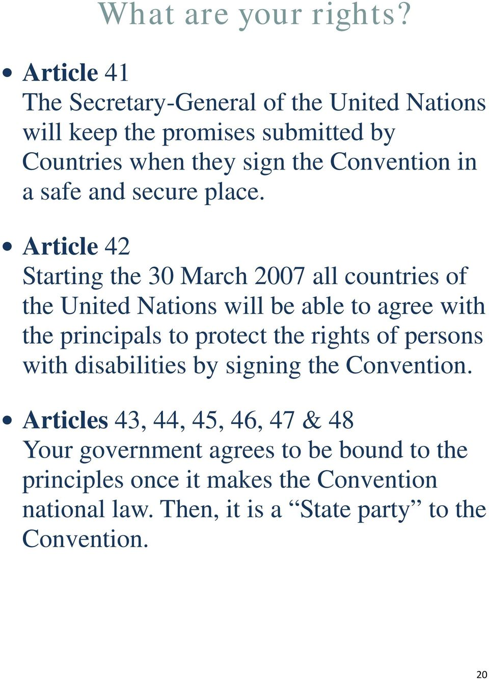 Article 42 Starting the 30 March 2007 all countries of the United Nations will be able to agree with the principals to protect the