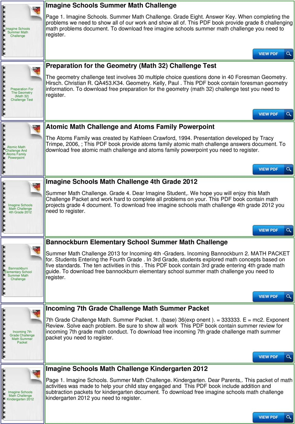 To download free imagine schools summer math challenge you need to Preparation for the Geometry (Math 32) Test Preparation For The Geometry (Math 32) Test The geometry challenge test involves 30