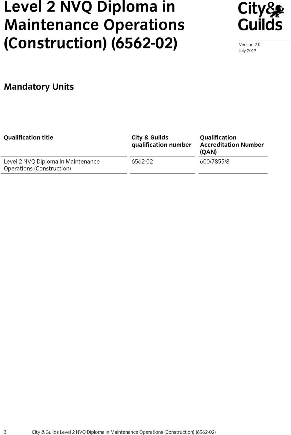 Operations (Construction) City & Guilds qualification number 6562-02 600/7855/8