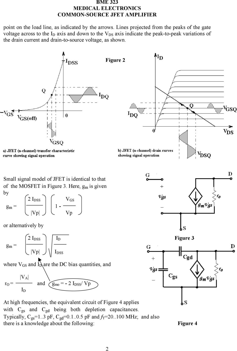 shown. Figure 2 Small signal model of JFET is identical to that of the MOSFET in Figure 3.