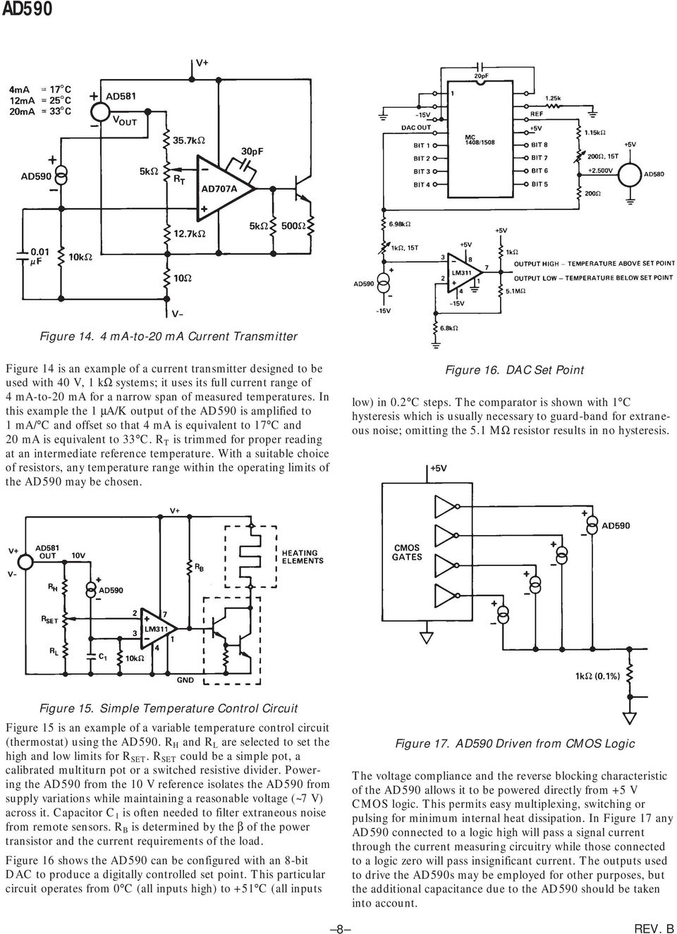 Two Terminal Ic Temperature Transducer Ad590 Pdf Stereo Audio Power Amplifier Schematic Circuit Diagram Using Lm4992 In This Example The 1 A K Output Of Is