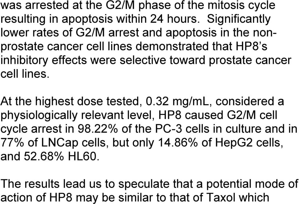 toward prostate cancer cell lines. At the highest dose tested, 0.