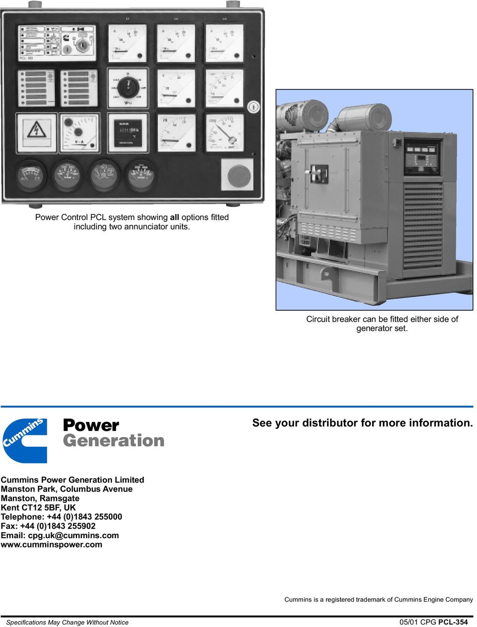 Power Generation See your distributor for more information.