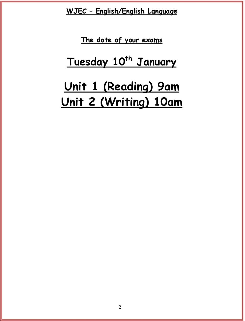 Tuesday 10 th January Unit 1