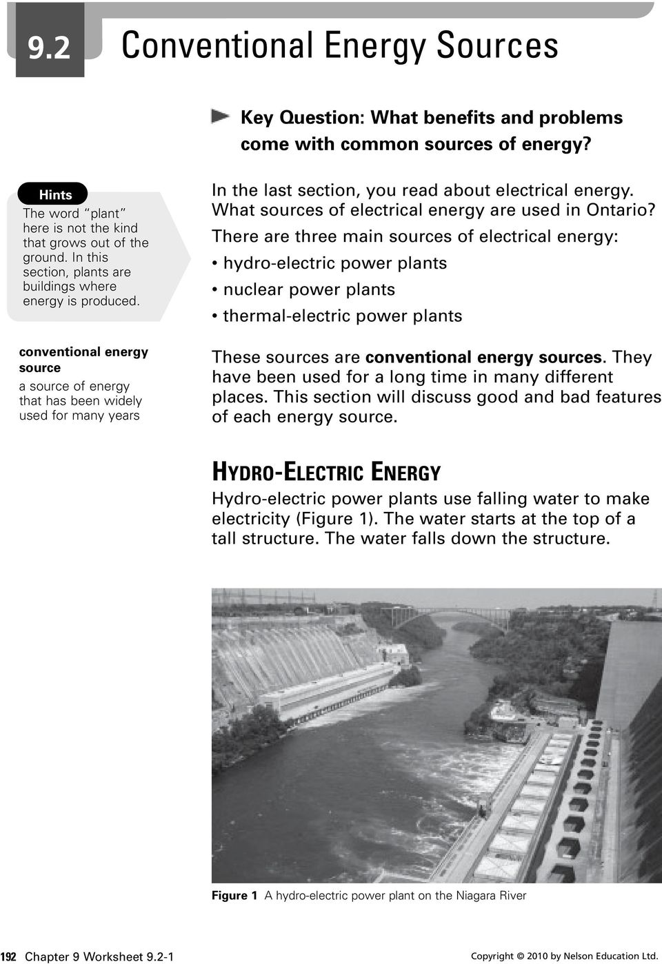 What sources of electrical energy are used in Ontario?