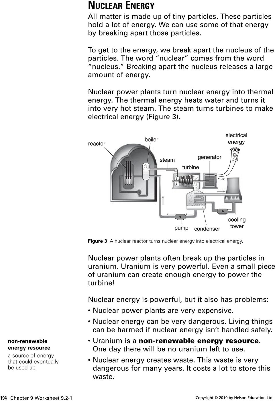 Nuclear power plants turn nuclear energy into thermal energy. The thermal energy heats water and turns it into very hot steam. The steam turns turbines to make electrical energy (Figure 3).