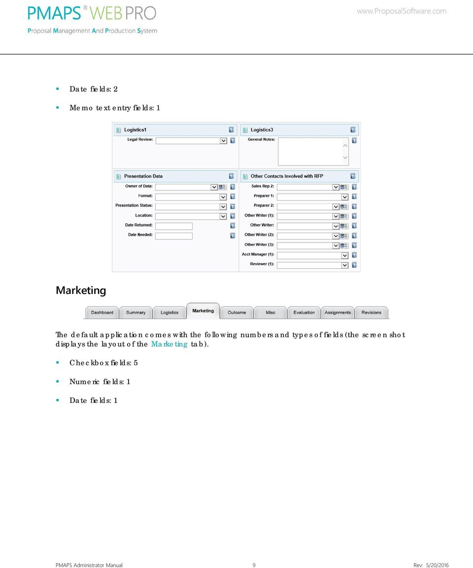 screen shot displays the layout of the Marketing tab).