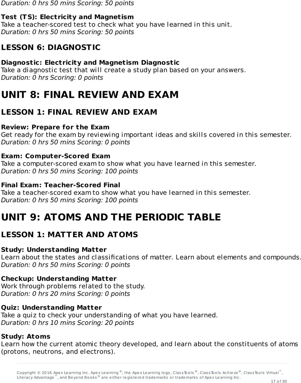Duration: 0 hrs Scoring: 0 points UNIT 8: FINAL REVIEW AND EXAM LESSON 1: FINAL REVIEW AND EXAM Review: Prepare for the Exam Get ready for the exam by reviewing important ideas and skills covered in