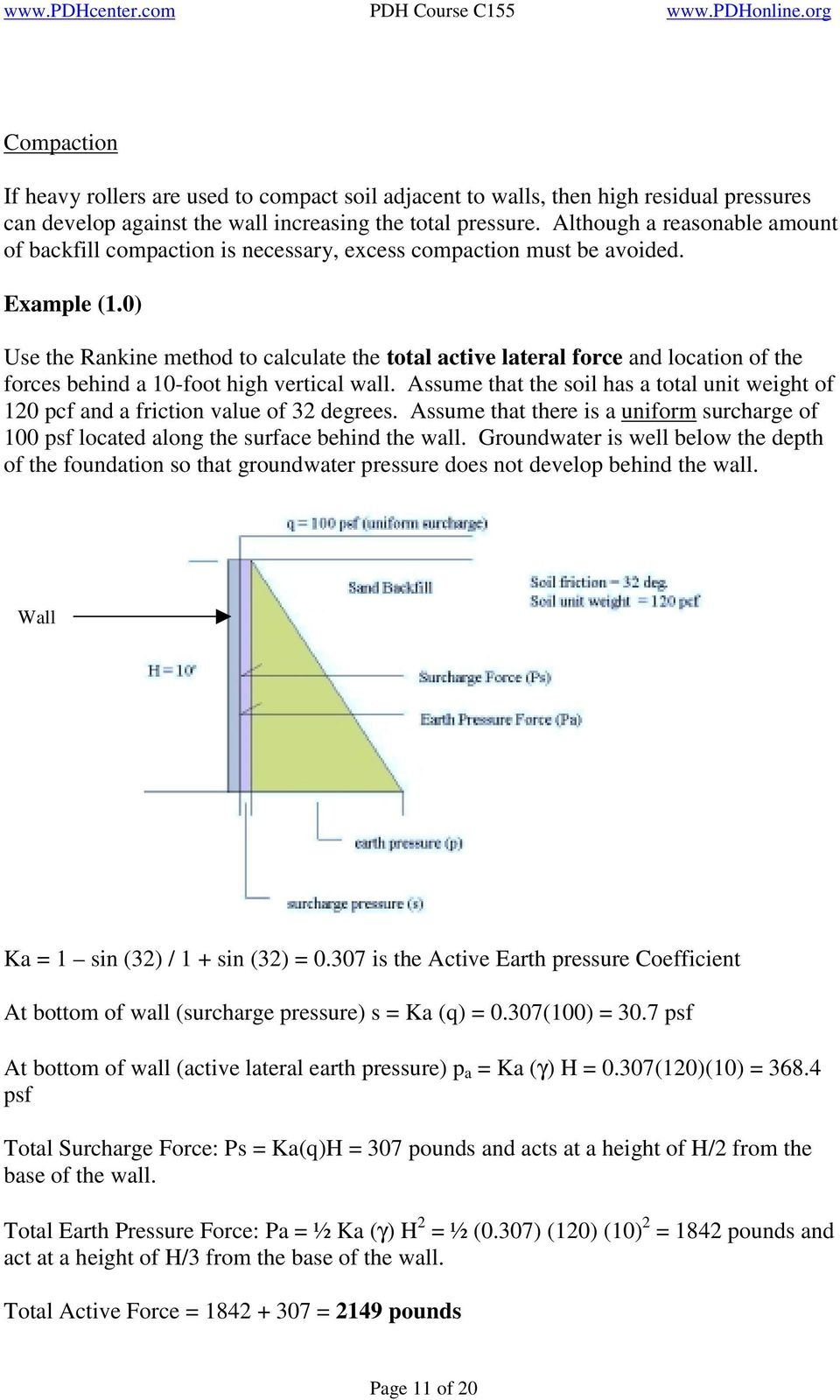 0) Use the Rankine method to calculate the total active lateral force and location of the forces behind a 10-foot high vertical wall.