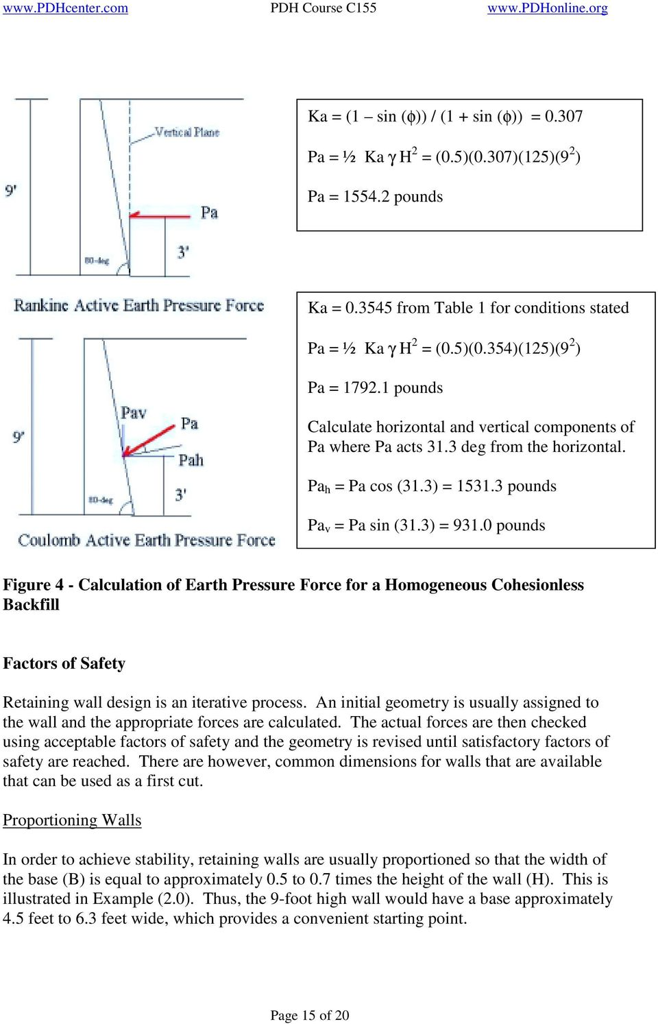0 pounds Figure 4 - Calculation of Earth Pressure Force for a Homogeneous Cohesionless Backfill Factors of Safety Retaining wall design is an iterative process.