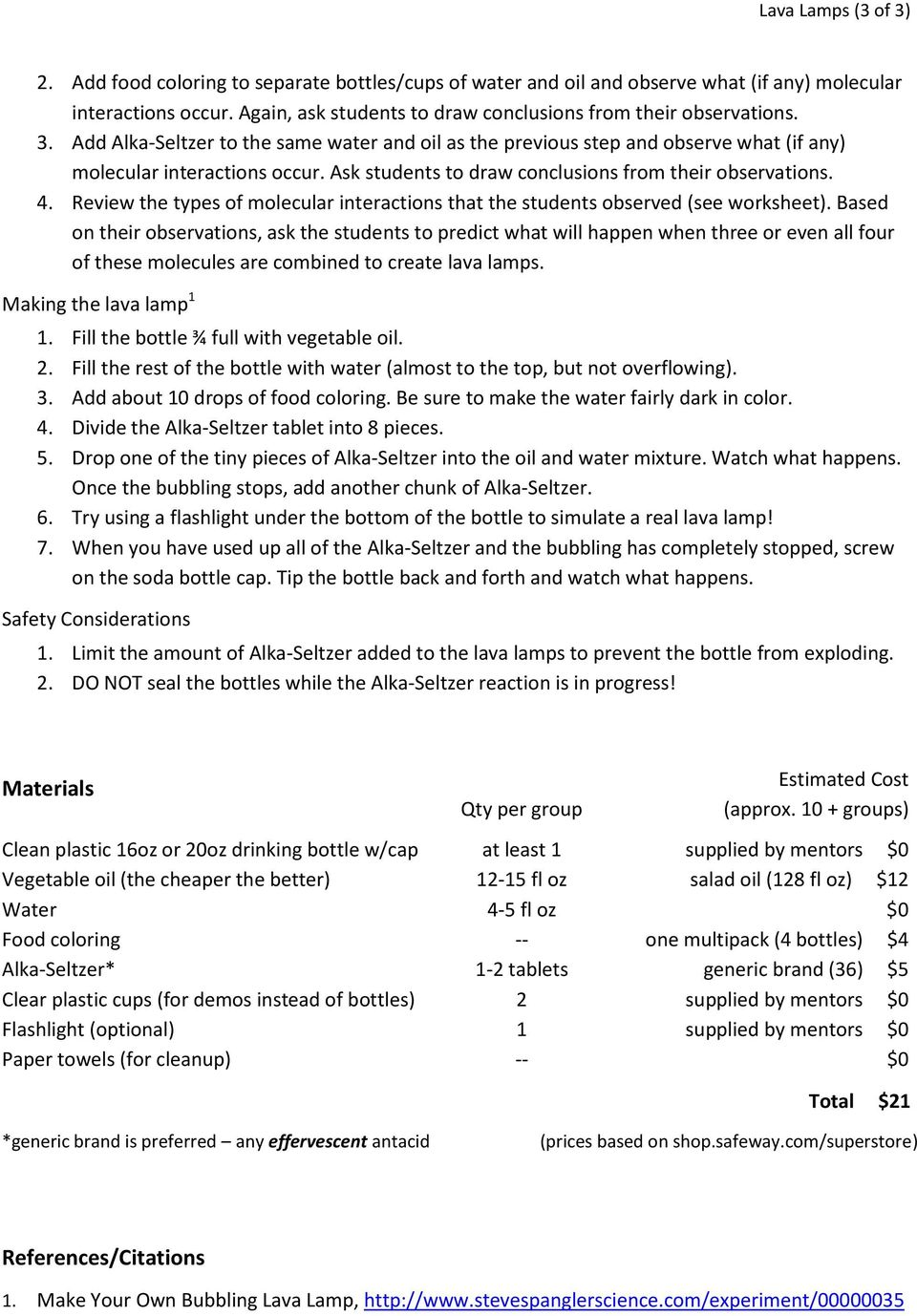 Lesson Plan for Lava Lamps - PDF