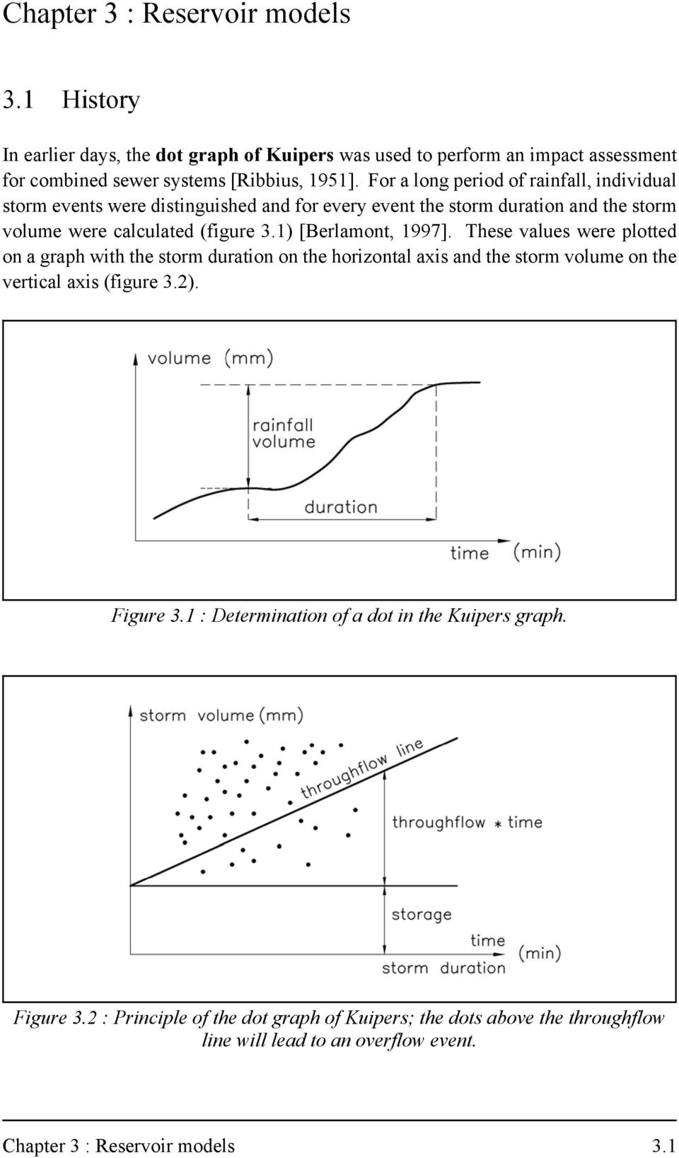 1) [Berlamont, 1997]. These values were plotted on a graph with the storm duration on the horizontal axis and the storm volume on the vertical axis (figure 3.2). Figure 3.