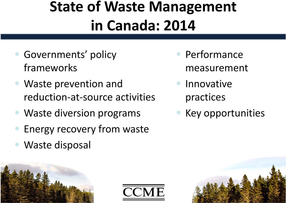 Waste diversion programs Energy recovery from waste Waste