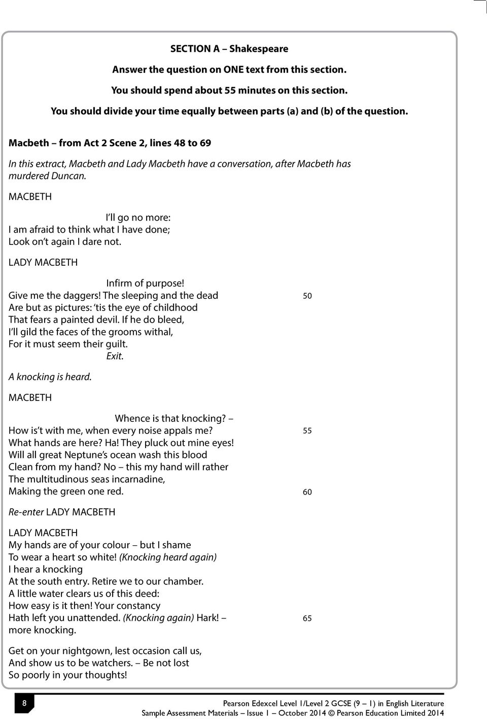 gcse english literature exemplars pdf macbeth from act 2 scene 2 lines 48 to 69 in this extract macbeth