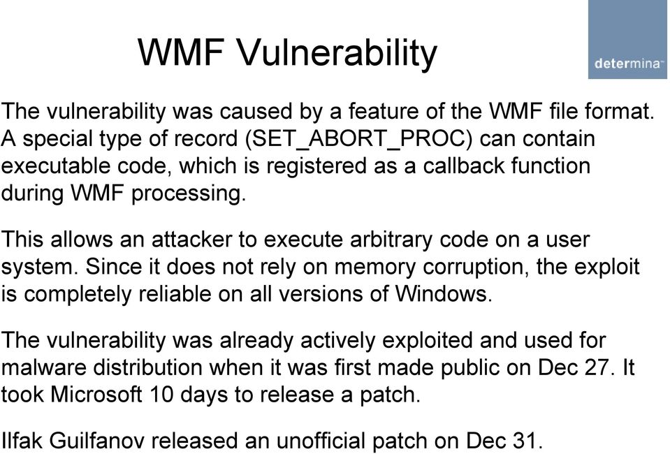 This allows an attacker to execute arbitrary code on a user system.