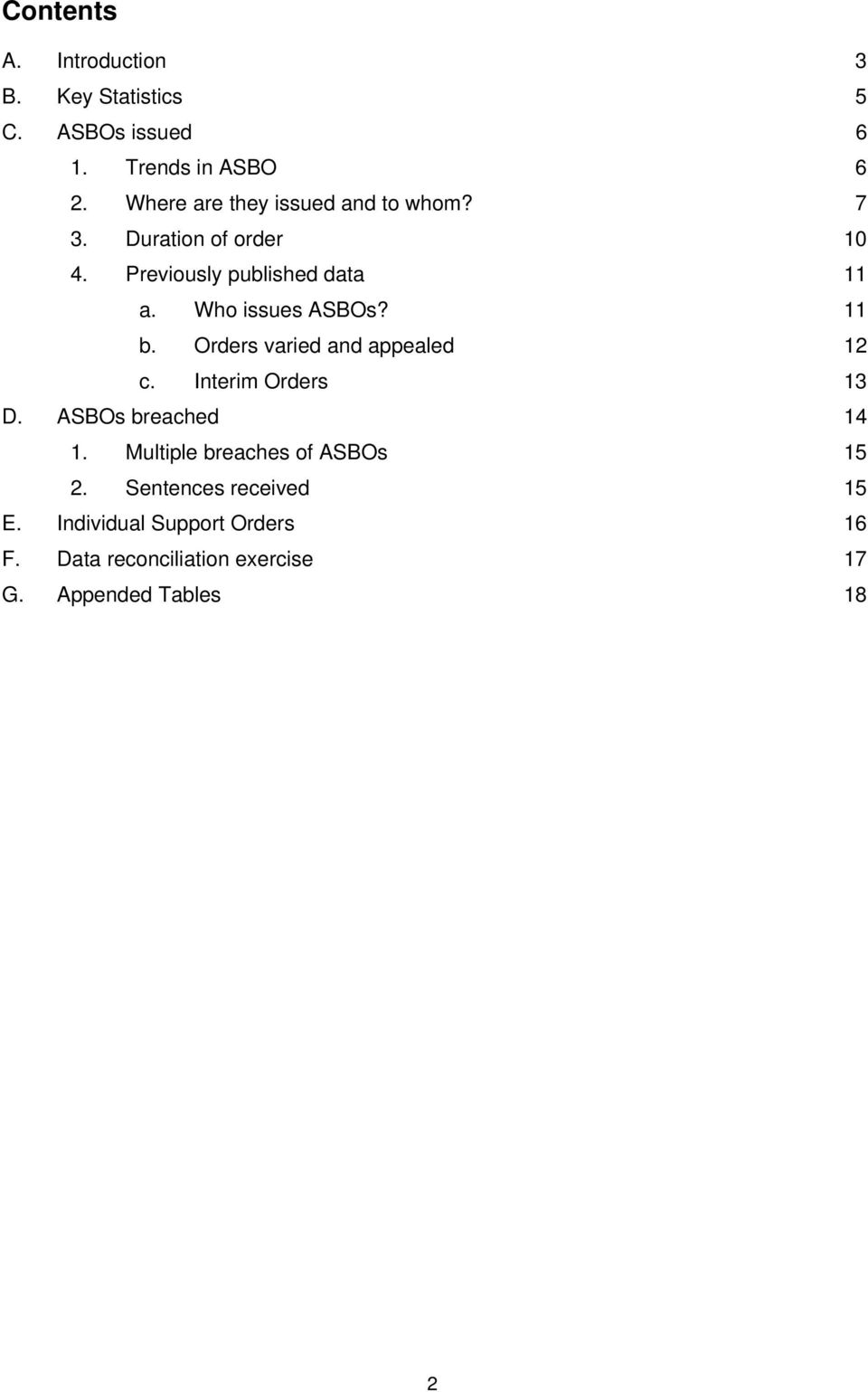 Who issues ASBOs? 11 b. Orders varied and appealed 12 c. Interim Orders 13 D. ASBOs breached 14 1.