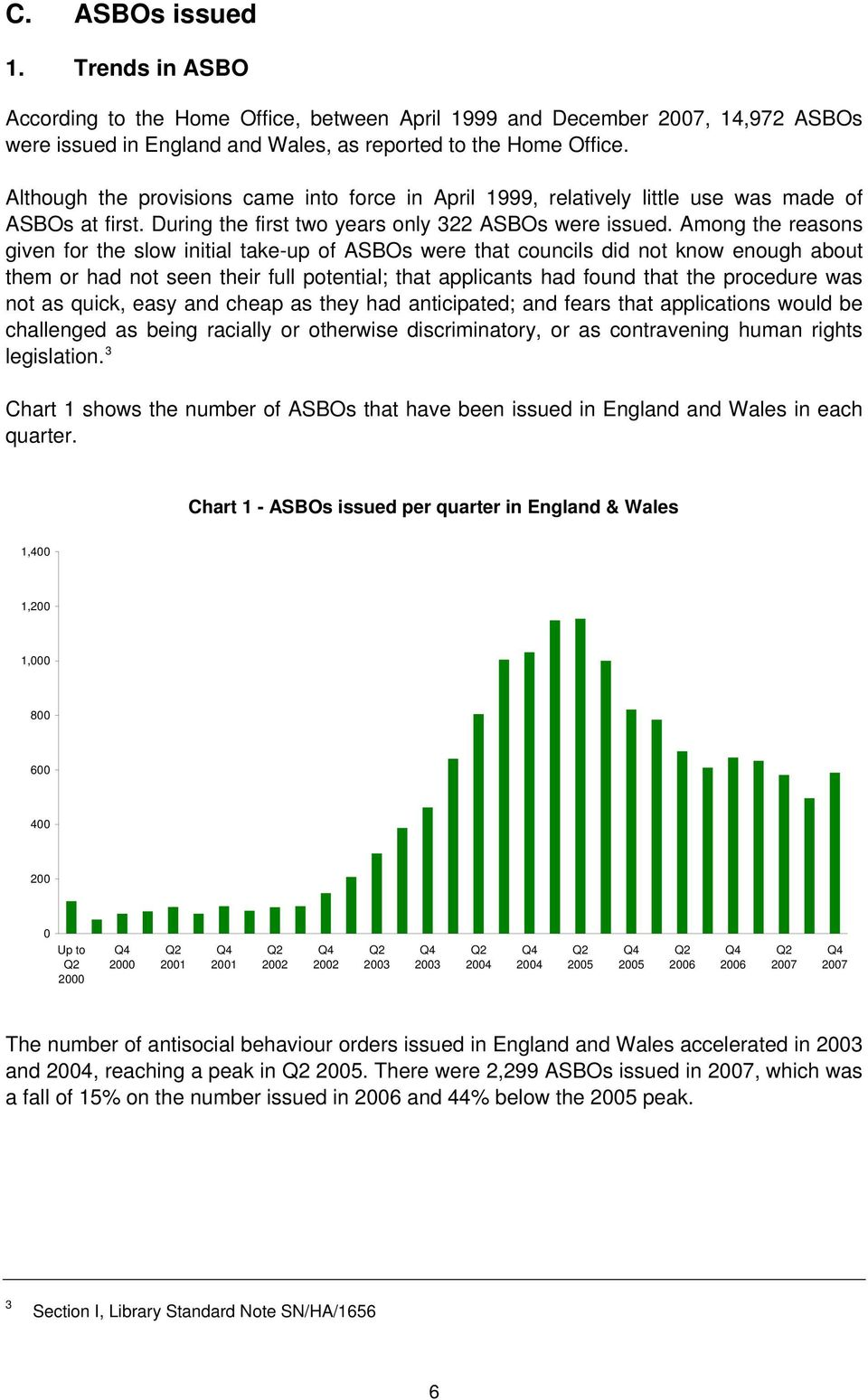 Among the reasons given for the slow initial take-up of ASBOs were that councils did not know enough about them or had not seen their full potential; that applicants had found that the procedure was