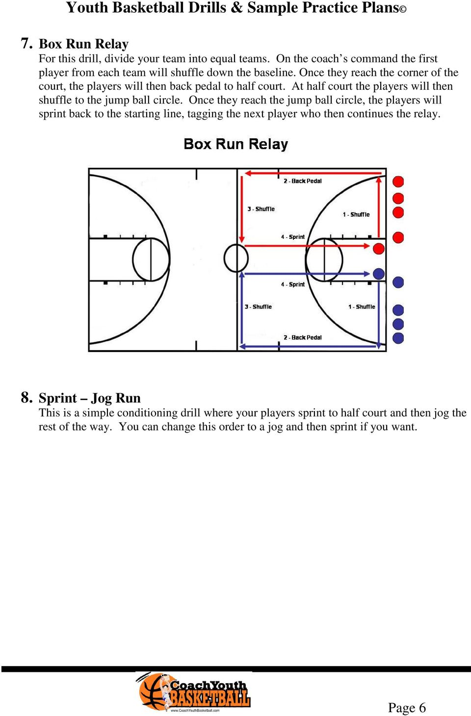 Once they reach the jump ball circle, the players will sprint back to the starting line, tagging the next player who then continues the relay. 8.
