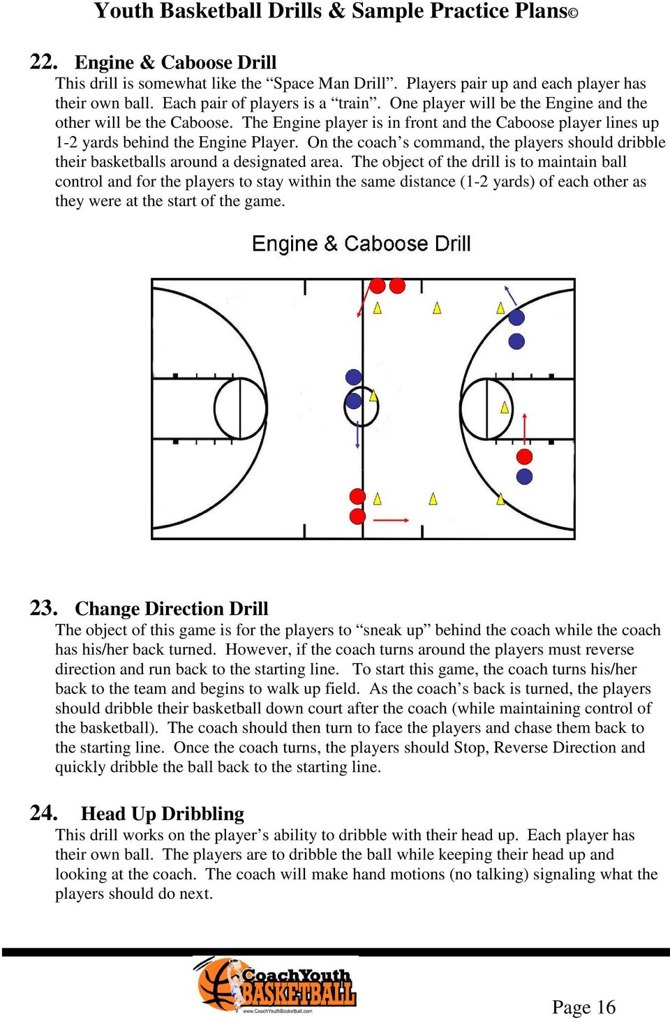 On the coach s command, the players should dribble their basketballs around a designated area.