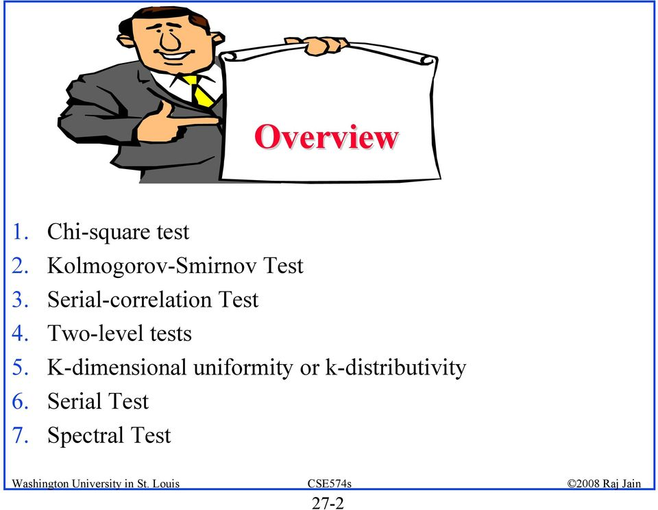 Serial-correlation Test 4. Two-level tests 5.