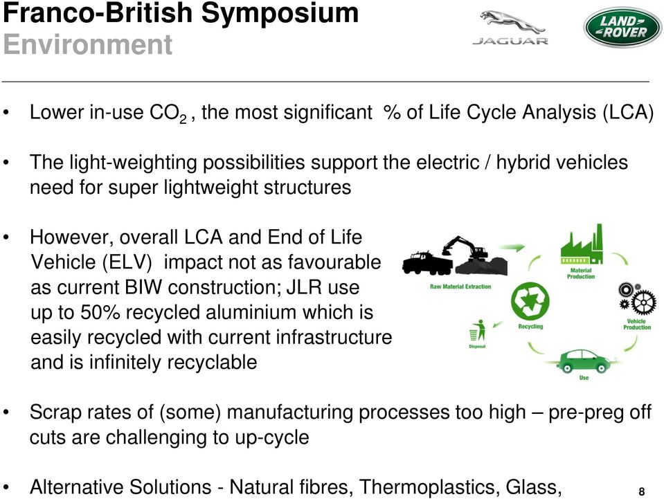 construction; JLR use up to 50% recycled aluminium which is easily recycled with current infrastructure and is infinitely recyclable Scrap rates