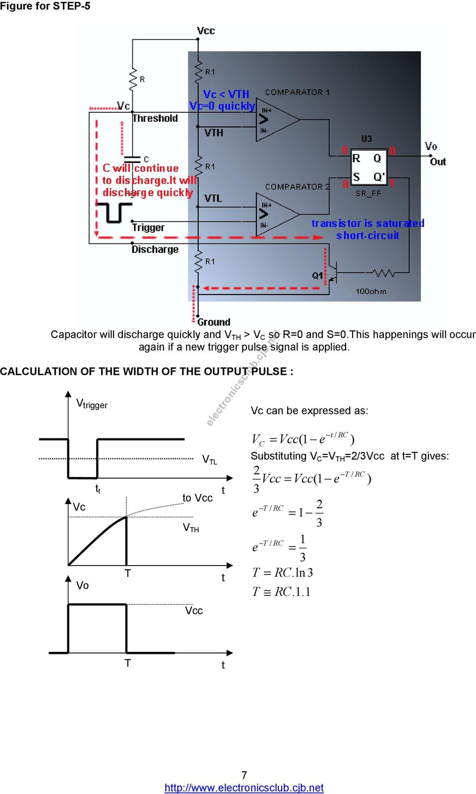 CALCULATION OF THE WIDTH OF THE OUTPUT PULSE : V rigger Vc Vo T V TL o Vcc V TH Vcc Vc can be