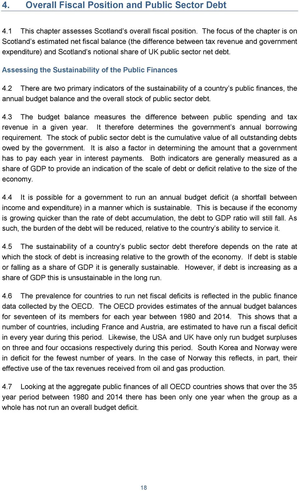 Assessing the Sustainability of the Public Finances 4.