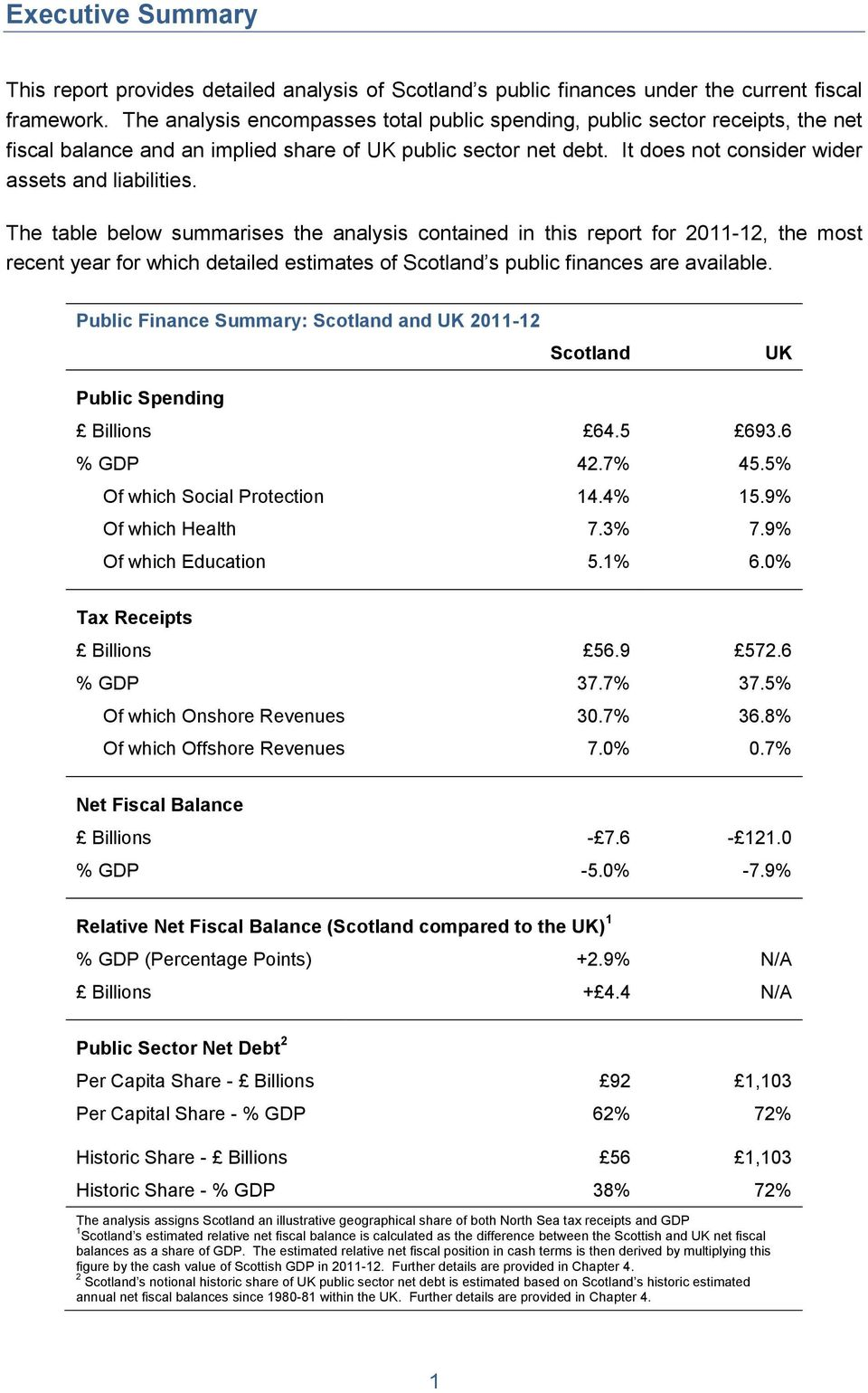 The table below summarises the analysis contained in this report for 2011-12, the most recent year for which detailed estimates of Scotland s public finances are available.