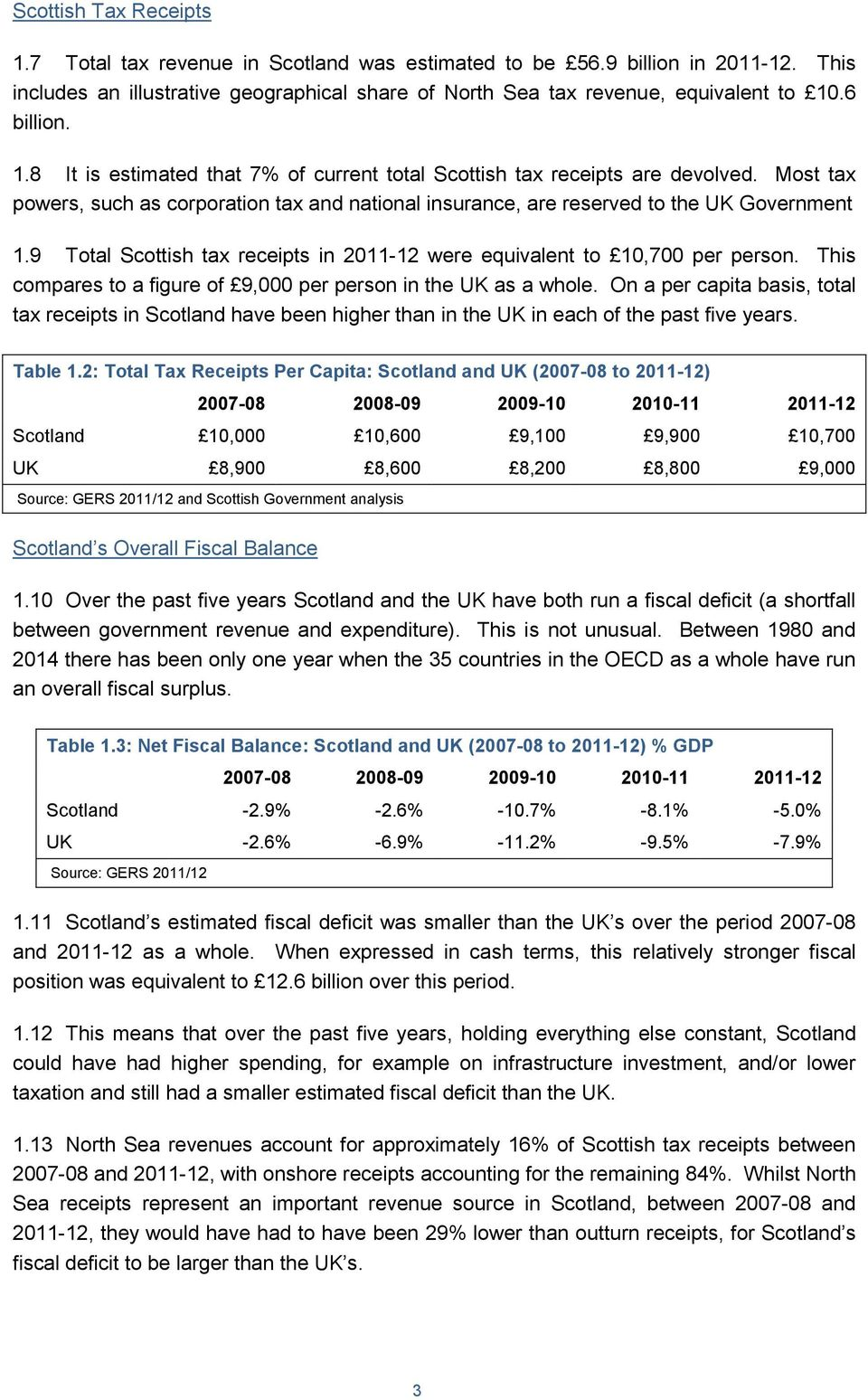 9 Total Scottish tax receipts in 2011-12 were equivalent to 10,700 per person. This compares to a figure of 9,000 per person in the UK as a whole.
