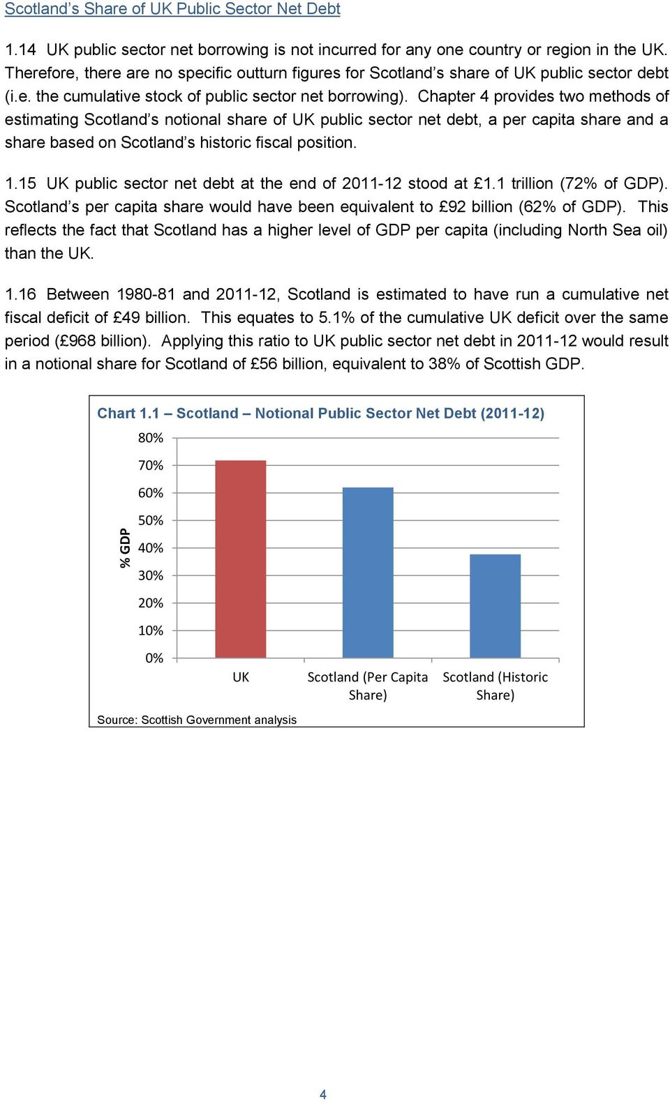 Chapter 4 provides two methods of estimating Scotland s notional share of UK public sector net debt, a per capita share and a share based on Scotland s historic fiscal position. 1.