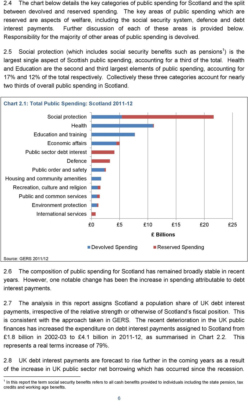 Further discussion of each of these areas is provided below. Responsibility for the majority of other areas of public spending is devolved. 2.