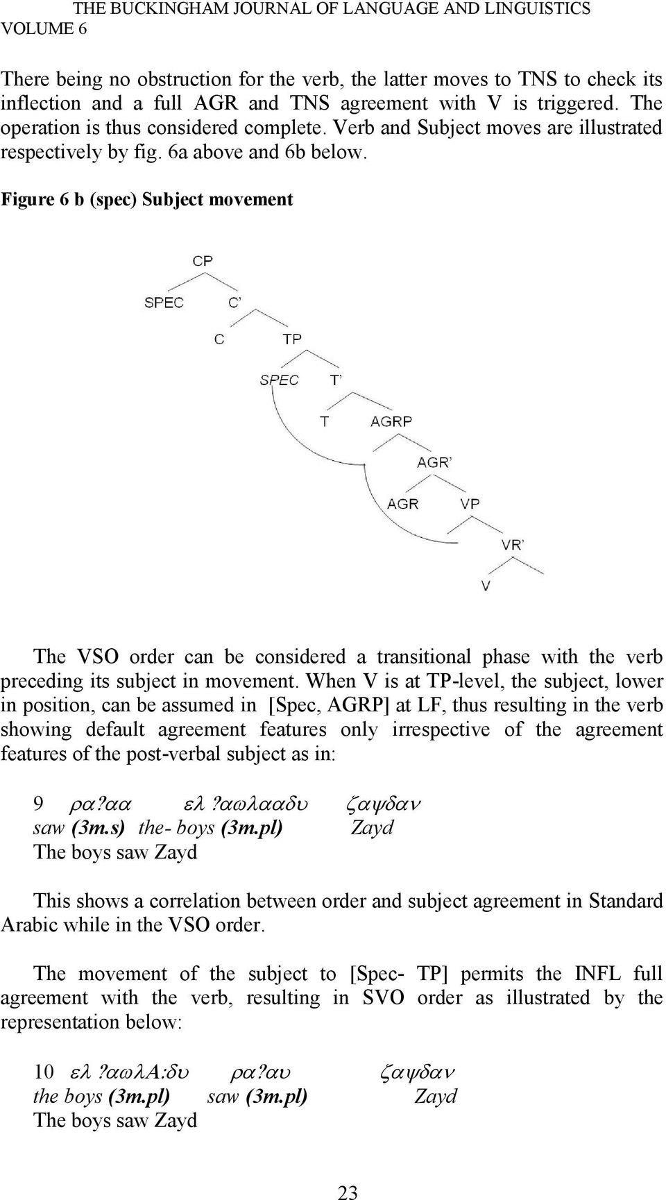 Figure 6 b (spec) Subject movement The VSO order can be considered a transitional phase with the verb preceding its subject in movement.