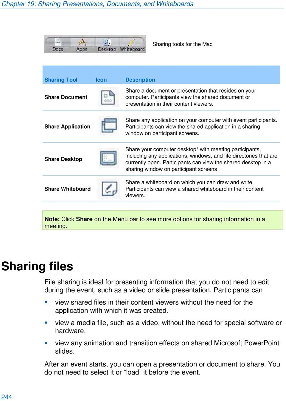 Participants can view the shared application in a sharing window on participant screens.