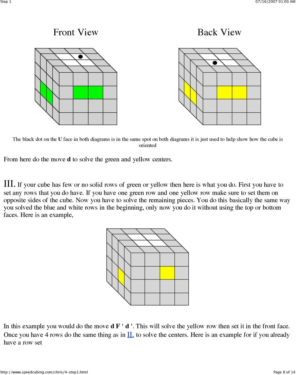 If you have one green row and one yellow row make sure to set them on opposite sides of the cube. Now you have to solve the remaining pieces.