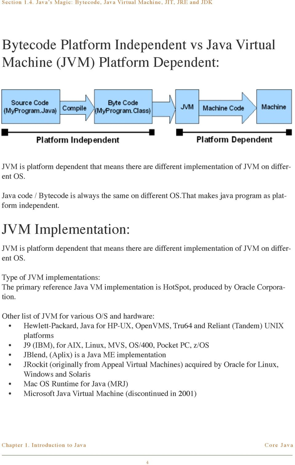 JVM Implementation: JVM is platform dependent that means there are different implementation of JVM on different OS.