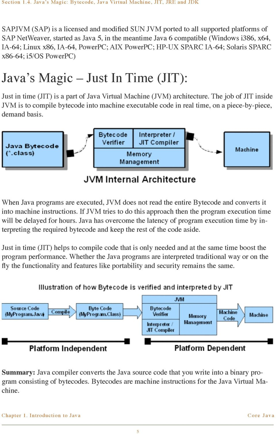 The job of JIT inside JVM is to compile bytecode into machine executable code in real time, on a piece-by-piece, demand basis.
