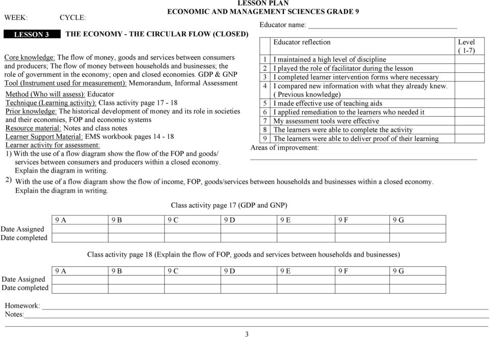 GDP & GNP Tool (Instrument used for measurement): Memorandum, Informal Assessment Method (Who will assess): Educator Technique (Learning activity): Class activity page 17-18 Prior knowledge: The