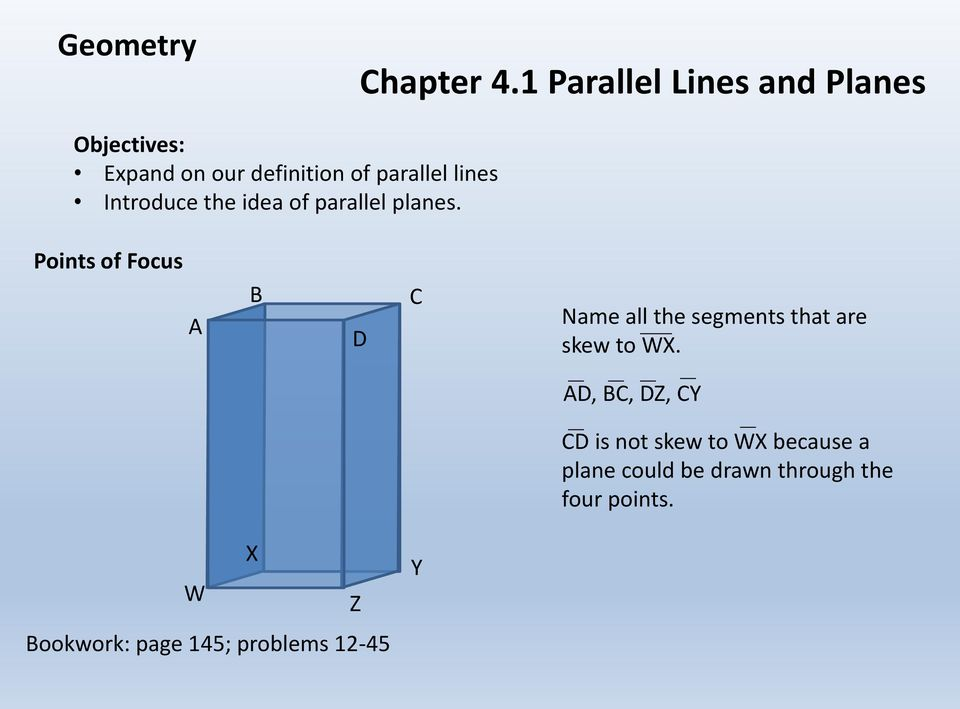 the idea of parallel planes.