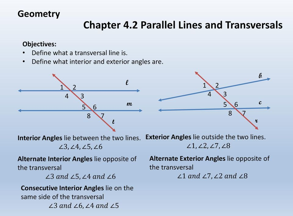 3, 4, 5, 6 Alternate Interior Angles lie opposite of the transversal 3 and 5, 4 and 6 Exterior Angles lie outside the two lines.