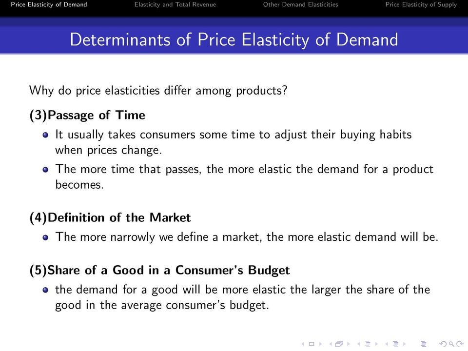 The more time that passes, the more elastic the demand for a product becomes.
