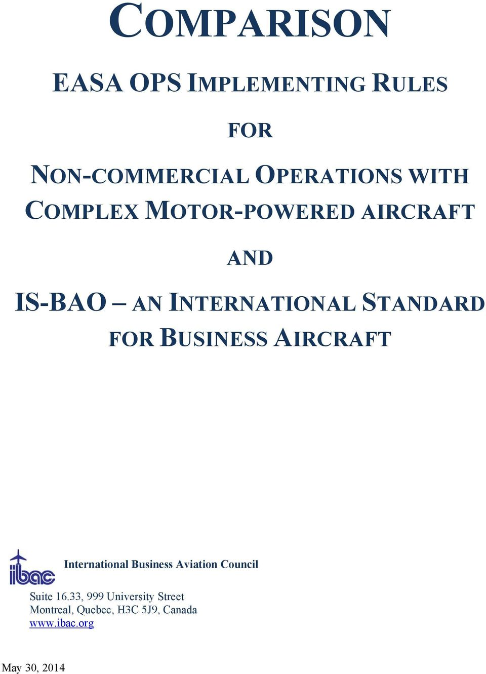 BUSINESS AIRCRAFT International Business Aviation Council Suite 16.
